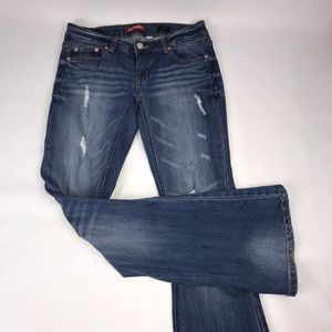 Distressed Flared Bell Bottom Stretch Jeans Size 5